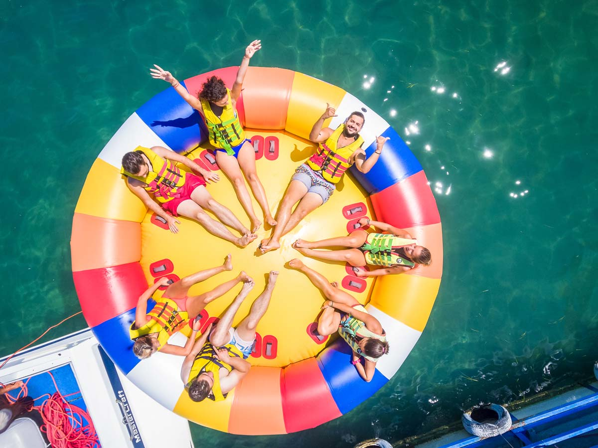 inflatable rides in corfu ski club twister aerial