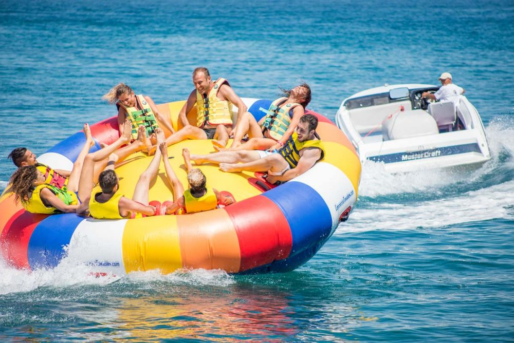 inflatable rides in corfu ski club twister spinning
